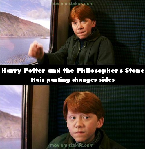 When Harry and Ron are sat on the train, Ron's hair begins with a centre